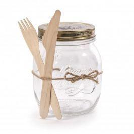 Słoik typu twist szklany z drewnianymi sztućcami BORMIOLI ROCCO LATTUGA 0,7 l
