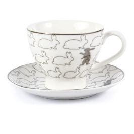 Filiżanka do kawy i herbaty ceramiczna ze spodkiem PLATYNOWY ZAJĄCZEK BIAŁA 200 ml