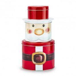 Puszka świąteczna na ciastka i pierniki metalowa ŚWIĘTY MIKOŁAJ CZERWONA