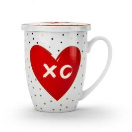 Kubek porcelanowy z zaparzaczem i pokrywką DUO LOVE XO BIAŁY 320 ml