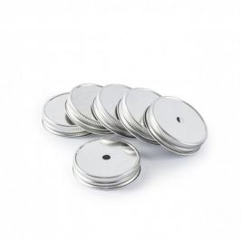 Zakrętki do słoików metalowe z otworami na słomki WARS SREBRNE 7,1 cm (6 szt.)
