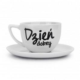 Filiżanka do kawy i herbaty ceramiczna ze spodkiem DZIEŃ DOBRY BIAŁA 400 ml