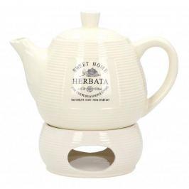 Dzbanek do herbaty i kawy ceramiczny z podgrzewaczem PASKI HERBATA SWEET HOME II KREMOWY 1 l