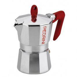 Kawiarka aluminiowa ciśnieniowa PEDRINI KAFFETTIERA RED - kafetiera na 2 filiżanki espresso