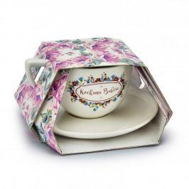 Filiżanka do kawy i herbaty ceramiczna ze spodkiem KOCHANA BABCIA BIAŁA 400 ml