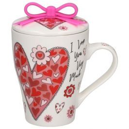 Kubek z zaparzaczem porcelanowy AFFEK DESIGN I LOVE YOU VERY MUCH 300 ml