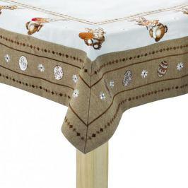 Obrus na stół wielkanocny poliestrowy WIELKANOCNY ZAJĄCZEK BRĄZOWY 85 x 85 cm