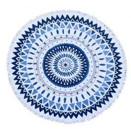 Ręcznik plażowy okrągły boho z frędzlami poliestrowy ECARLA MANDALA BIAŁY 150 cm
