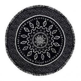 Ręcznik plażowy okrągły boho z frędzlami poliestrowy ECARLA DOTS CZARNY 150 cm