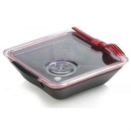 Lunch box plastikowy dwukomorowy z widelcem i pojemnikiem na sos BLACK BLUM BOX APPETIT CZERWONY