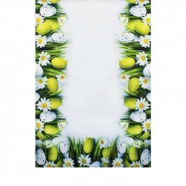 Bieżnik na stół wielkanocny poliestrowy MILANO PISANKI BIAŁY 40 x 140 cm