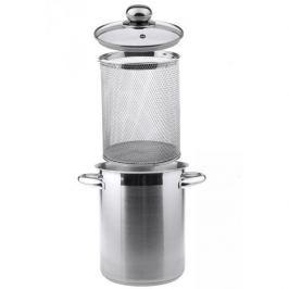 Garnek do gotowania szparagów stalowy z pokrywką  SSW SREBRNY 4,1 l