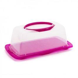Pojemnik na ciasto plastikowy prostokątny DOMOTTI DOLCE RÓŻOWY 39 x 19,5 cm