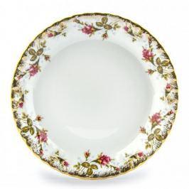Talerz obiadowy płytki porcelanowy CHODZIEŻ IWONA ZŁOCONA RÓŻA BIAŁY 24 cm