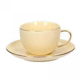 Filiżanka do kawy i herbaty porcelanowa ze spodkiem DUO PASKI KREMOWA 250 ml