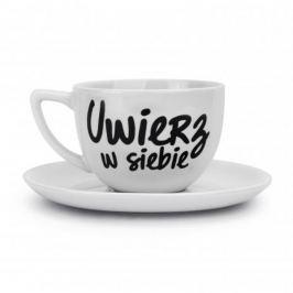Filiżanka do kawy i herbaty ceramiczna ze spodkiem UWIERZ W SIEBIE BIAŁA 400 ml