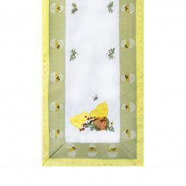 Bieżnik na stół poliestrowy WIELKANOCNE KURCZAKI BIAŁY 70 x 35 cm