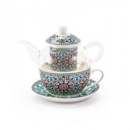 Dzbanek do herbaty i kawy szklany z zaparzaczem i filiżanką MAROKO GRANAT 0,4 l