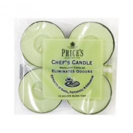 Świeczki zapachowe tealihgt woskowe neutralizujące przykre zapachy PRICE'S CANDLES CHEF'S ZIELONE 4 szt.