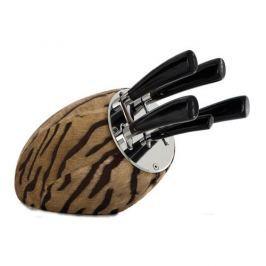 Noże kuchenne ze stali martenzytycznej w bloku DEL&BEN SENSE MARRONE 5 szt.