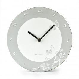 Zegar ścienny plastikowy FLORINA BUTTERFLY BIAŁY 25 cm