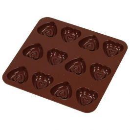 Forma do 12 czekoladek silikonowa SILIKOMART SERCA BRĄZOWA