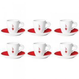 Filiżanki do espresso porcelanowe ze spodkami BIALETTI CLASSIC COLORATE RED WIELOKOLOROWE 90 ml 6 szt.