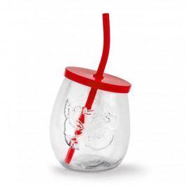 Szklanka do napojów szklana ze słomką FRESH CZERWONA 400 ml