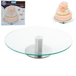Patera obrotowa na ciasto szklana NISKA 30 cm - stojak na tort