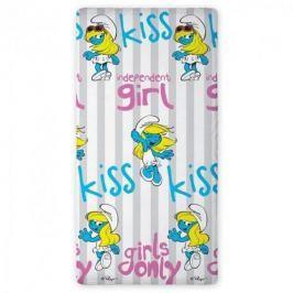 Prześcieradło z gumką dla dzieci bajkowe bawełniane FARO SMERFY INDEPENDENT GIRL BIAŁE 90 x 200 cm