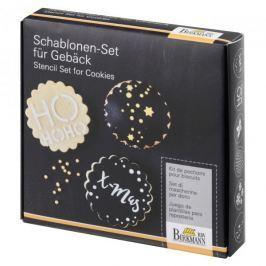 Szablony do dekoracji ciastek plastikowe z wykrawaczem BIRKMANN CHRISTMAS GLAMOUR SREBRNE 7 szt.