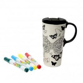 Kubek ceramiczny do malowania z pokrywką i flamastrami DEXAM BUTTERFLY BIAŁY 475 ml