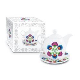 Dzbanek do herbaty i kawy ceramiczny z filiżanką i spodkiem CERAMIKA TUŁOWICE ŁOWICZ BIAŁY 0,5 l