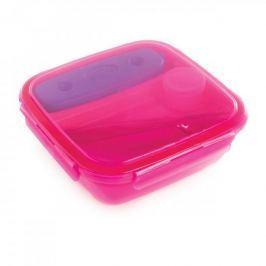 Lunch box plastikowy trzykomorowy z wkładem chłodzącym i sztućcami SNIPS ENERGY RÓŻOWY 1,5 l