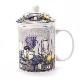 Kubek ceramiczny z zaparzaczem PROVANCE FIOLETOWY 330 ml