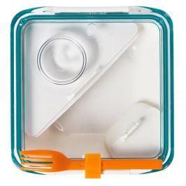 Lunch box plastikowy dwukomorowy z widelcem i pojemnikiem na sos BLACK BLUM BOX APPETIT NIEBIESKI