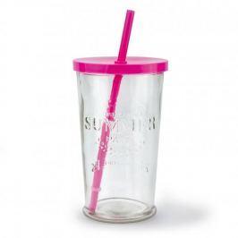 Szklanka do napojów szklana ze słomką COCKTAIL RÓŻOWA 460 ml