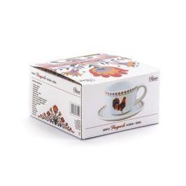 Filiżanka do kawy i herbaty ceramiczna ze spodkiem DUMNY KOGUCIK BIAŁA 320 ml