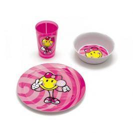Naczynia dla dzieci plastikowe ZAK SMILEY KID BIG RÓŻOWY 3 szt.