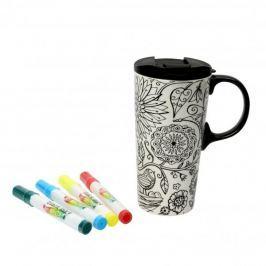 Kubek ceramiczny do malowania z pokrywką i flamastrami DEXAM NATURE BIAŁY 475 ml
