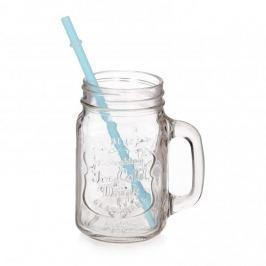 Słoik z uchem i słomką szklany REFRESHING ICE COLD DRINK MIX KOLORÓW 500 ml