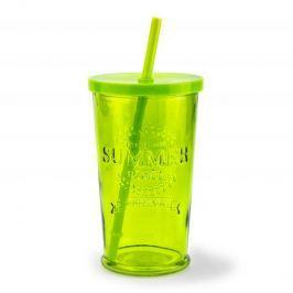 Szklanka do napojów szklana ze słomką SUMMER PARTY ZIELONA 460 ml