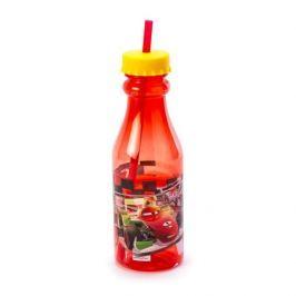 Butelka dla dzieci plastikowa ze słomką DISNEY AUTA ZYGZAK MCQUEEN CZERWONA 0,5 l