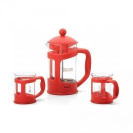 French press / Zaparzacz do kawy tłokowy szklany z filiżankami BIALETTI COFFEE CZERWONY 0,8 l