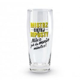 Szklanka do piwa szklana MISTRZ CIĘTEJ RIPOSTY MILCZ JAK DO MNIE MÓWISZ 500 ml