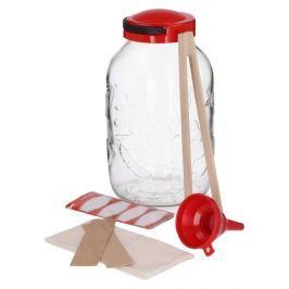 Słoik do kiszenia ogórków szklany z akcesoriami JAM CZERWONY 5 l Inne naczynia kuchenne