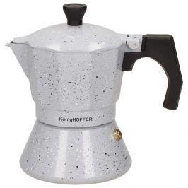 Kawiarka aluminiowa ciśnieniowa KONIGHOFFER GREY STONE MARBLE SZARA - kafetiera na 3 filiżanki espresso