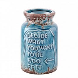 Wazon na kwiaty ceramiczny BE WHO YOU WANT TO BE NIEBIESKI 14,5 cm