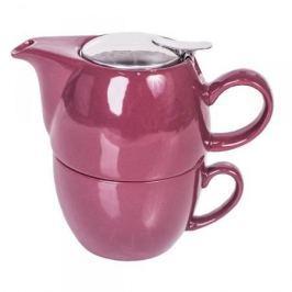 Dzbanek do herbaty z zaparzaczem i filiżanką porcelanowy MOUNT EVEREST TEA FOR ONE FIOLETOWY