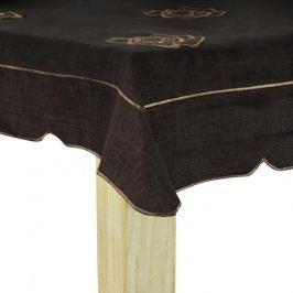 Obrus na stół poliestrowy MISS LUCY KWIATUSZKI  BRĄZOWY 85 x 85 cm